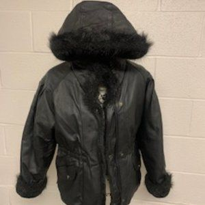 Reversible  Faux Fur Lined Leather jacket size M